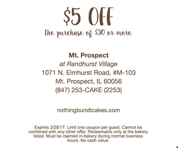 $5 off the purchase of $30 or more