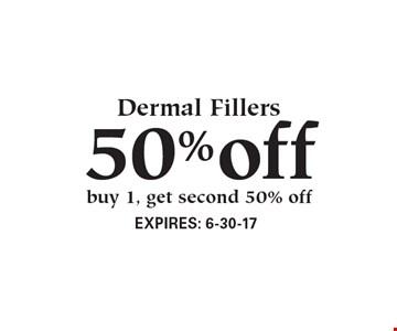 50% off Dermal Fillers. Buy 1, get second 50% off.