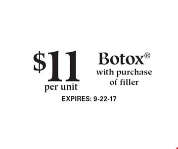 $11 per unit Botox® with purchase of filler. Expires 9-22-17.