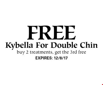 free Kybella For Double Chin buy 2 treatments, get the 3rd free. EXPIRES: 12/8/17