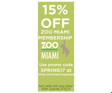 15% OFF Zoo Miami Membership
