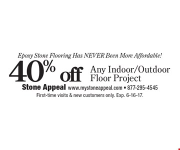 Epoxy Stone Flooring Has Never Been More Affordable! 40% off Any Indoor/Outdoor Floor Project. First-time visits & new customers only. Exp. 6-16-17.