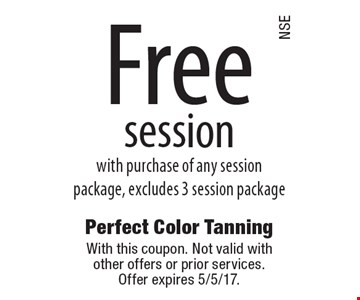 Free session with purchase of any session package, excludes 3 session package. With this coupon. Not valid with other offers or prior services. Offer expires 5/5/17.