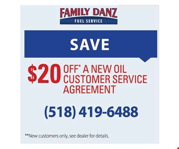 Save $20 off a new oil customer service