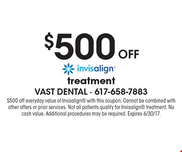 $500 off invisalign treatment. $500 off everyday value of Invisalign with this coupon. Cannot be combined with other offers or prior services. Not all patients qualify for Invisalign treatment. No cash value. Additional procedures may be required. Expires 6/30/17.