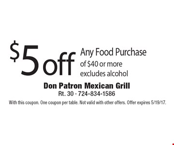 $5 off Any Food Purchase of $40 or more excludes alcohol. With this coupon. One coupon per table. Not valid with other offers. Offer expires 5/19/17.