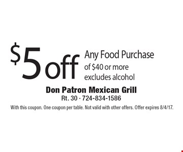 $5 off Any Food Purchase of $40 or more excludes alcohol. With this coupon. One coupon per table. Not valid with other offers. Offer expires 8/4/17.