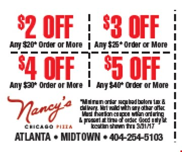 $2 to $5 off orders
