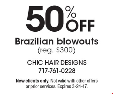 50% Off Brazilian blowouts (reg. $300). New clients only. Not valid with other offers or prior services. Expires 3-24-17.