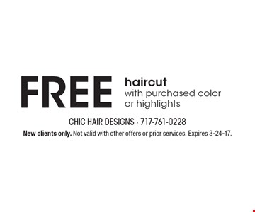 Free haircut with purchased color or highlights. New clients only. Not valid with other offers or prior services. Expires 3-24-17.