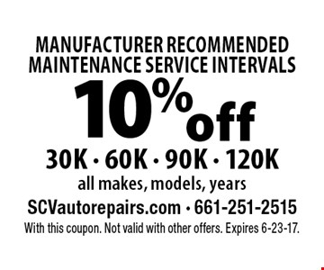 10% off  MANUFACTURER RECOMMENDED MAINTENANCE SERVICE INTERVALS 30K - 60K - 90K - 120K all makes, models, years. With this coupon. Not valid with other offers. Expires 6-23-17.