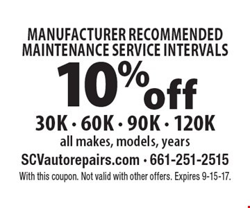 Manufacturer Recommended Maintenance Service Intervals 10% off 30K - 60K - 90K - 120K all makes, models, years. With this coupon. Not valid with other offers. Expires 9-15-17.