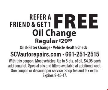 Refer A Friend & Get 1 Free Oil Change Regular $29.99 Oil & Filter Change - Vehicle Health Check. With this coupon. Most vehicles. Up to 5 qts. of oil, $4.95 each additional qt. Special oils and filters available at additional cost. One coupon or discount per service. Shop fee and tax extra. Expires 9-15-17.