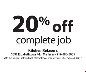 20%off complete job. With this coupon. Not valid with other offers or prior services. Offer expires 2-28-17.