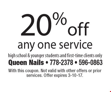 20%off any one service high school & younger students and first-time clients only. With this coupon. Not valid with other offers or prior services. Offer expires 3-10-17.