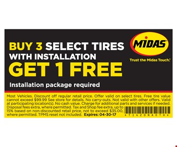 buy 3 select tires get 1 free
