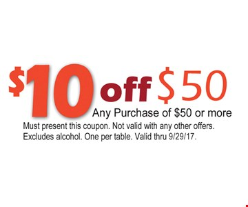 $10 off any $50 purchase.