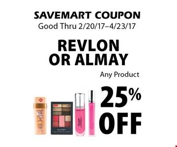 25% off Revlon or Almay. Any Product. SAVEMART COUPON. Good Thru 2/20/17-4/23/17.