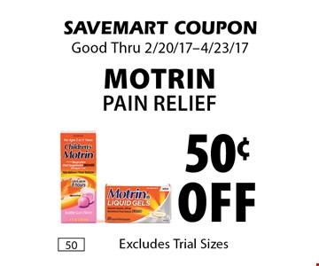 50¢ off Motrin Pain Relief. SAVEMART COUPON Good Thru 2/20/17-4/23/17.