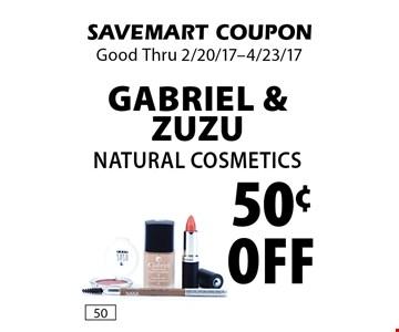 50¢ off Gabriel & ZuZu Natural Cosmetics. SAVEMART COUPON. Good Thru 2/20/17-4/23/17.