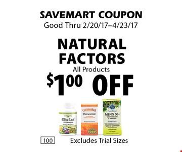 $1.00 off Natural Factors All Products. SAVEMART COUPON. Good Thru 2/20/17-4/23/17.
