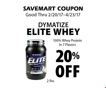 20% off Dymatize Elite Whey. 100% Whey ProteinIn 7 Flavors. SAVEMART COUPON. Good Thru 2/20/17-4/23/17.