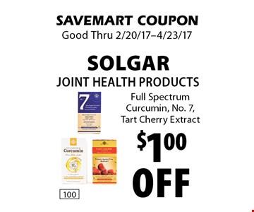 $1.00 off Solgar Joint Health Products Full Spectrum Curcumin, No. 7, Tart Cherry Extract. SAVEMART COUPON. Good Thru 2/20/17-4/23/17.