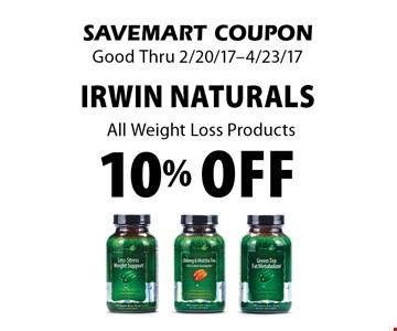 10% off Irwin Naturals All Weight Loss Products. SAVEMART COUPON. Good Thru 2/20/17-4/23/17.
