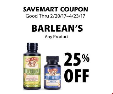 25% off Barlean's Any Product. SAVEMART COUPON. Good Thru 2/20/17-4/23/17.