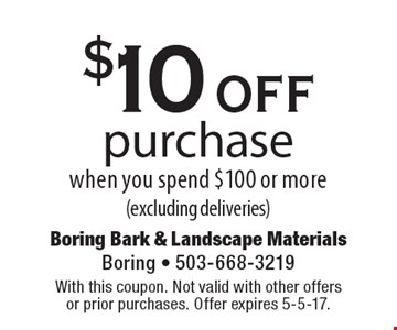 $10 off purchase when you spend $100 or more (excluding deliveries). With this coupon. Not valid with other offers or prior purchases. Offer expires 5-5-17.