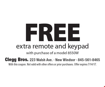 Free extra remote and keypad with purchase of a model 8550W. With this coupon. Not valid with other offers or prior purchases. Offer expires 7/14/17.