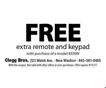 FREE extra remote and keypad with purchase of a model 8550W. With this coupon. Not valid with other offers or prior purchases. Offer expires 9/15/17.