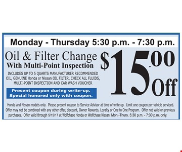 $15.00 Off Oil and Filter Change