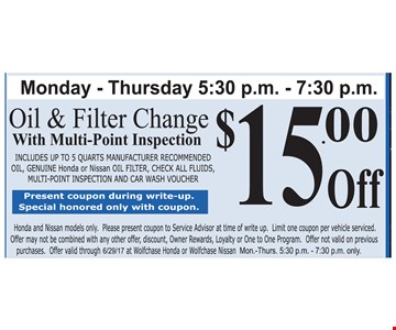 $15 Off Oil & Filter change with Multi- point Inspection