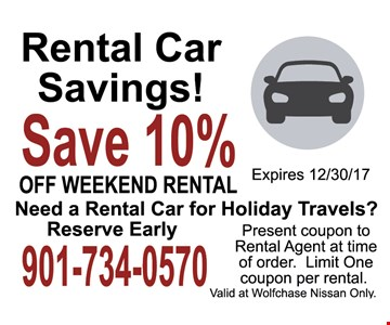 Save 10% Off weekend rentals
