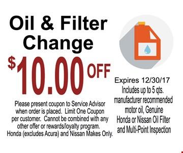 $10 Off Oil & Filter Change