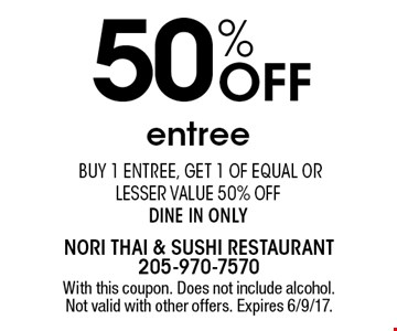 50% Off entree. Buy 1 entree, get 1 of equal or lesser value 50% off. Dine in only. With this coupon. Does not include alcohol. Not valid with other offers. Expires 6/9/17.