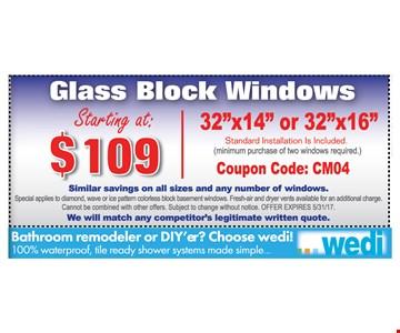 glass block windows starting at $109 32