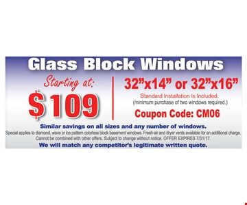 Glass Block Windows Starting at $109