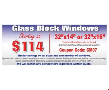 $114 glass block windows: 32