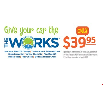 Give your car the Works only $39.95