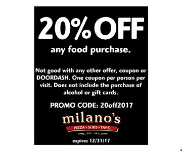 20% Off any food purchase