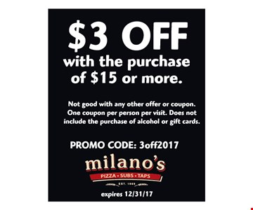$3 off a $15 purchase.