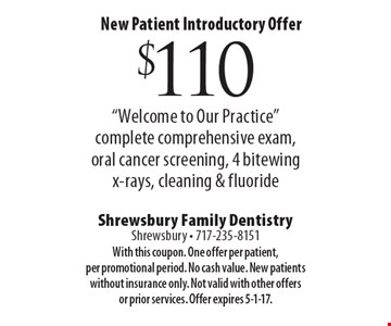 New Patient Introductory Offer $110.