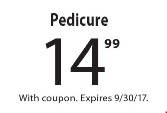 14.99 Pedicure. With coupon. Expires 9/30/17.