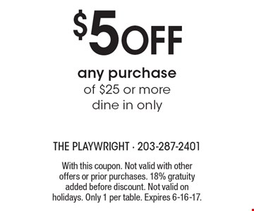 $5 OFF any purchase of $25 or more. Dine in only. With this coupon. Not valid with other offers or prior purchases. 18% gratuity added before discount. Not valid on holidays. Only 1 per table. Expires 6-16-17.