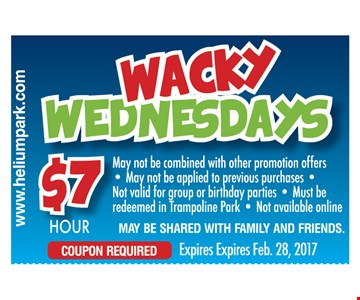 $7 for an hour. Wednesdays only. May not be combined with other promotional offers. May not be applied to previous  purchases. Not valid for group or birthday parties. Must be redeemed in Trampoline Park. Not available online.