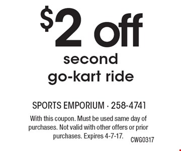 $2 off second go-kart ride, CWG0317. With this coupon. Must be used same day of purchases. Not valid with other offers or prior purchases. Expires 4-7-17.