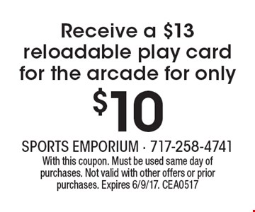 Receive a $13 reloadable play card for the arcade for only $10. With this coupon. Must be used same day of purchases. Not valid with other offers or prior purchases. Expires 6/9/17. CEA0517