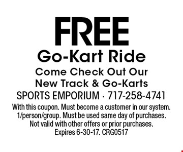 FREE Go-Kart Ride. Come Check Out Our New Track & Go-Karts. With this coupon. Must become a customer in our system. 1/person/group. Must be used same day of purchases. Not valid with other offers or prior purchases. Expires 6-30-17. CRG0517